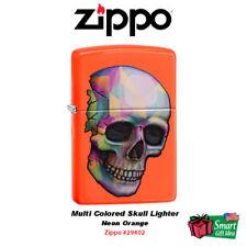 Zippo Multi Colored Skull Lighter, Neon Orange #29402