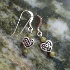 Connemara marble celtic heart earrings. Irish Jewelry and gifts. Made in Ireland