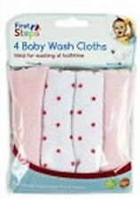 Baby Face Wash Cloths Pack Of 4 - Machine Washable (Pink)