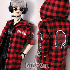 New 1/3 1/4 BJD SD MSD Doll Clothes Printed checked Red black shirt PUNK Coat
