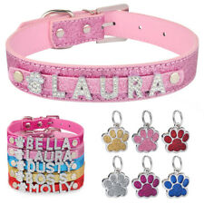 Leather Personalised Dog Collar & ID Tag Cat Puppy Kitten Pet Bling Name Charm