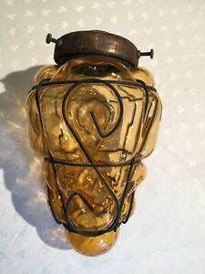 """WROUGHT IRON WITH GOLD MOULDED BUBBLE GLASS SHADE APPROX 10"""" TALL X 6"""" WIDE"""