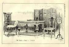 1900 Two Chairs Tableand Screen Drawings Wj Willy