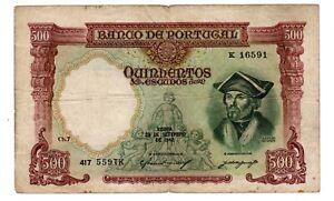 PORTUGAL Billet 500 ESCUDOS 1942 P155 DAMIAO DE GOEZ BON ETAT
