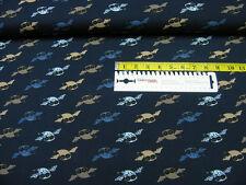 Jersey • Flug Eulen • klein auf dunkelblau • Baumwoll Jersey • 0,5m