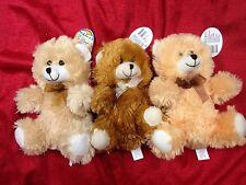 """Lot Of 3 Fuzzy Friends Teddy Bears stuffed plush Orange Brown & Beige 10"""" Tall"""