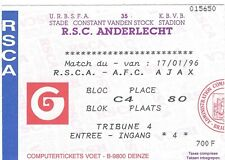 Ticket: Anderlecht - Ajax Amsterdam friendly match amical  (17-1-96)