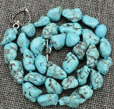 "10-12mm green turquoise gemstone Chunk Necklace Tibetan Silver 18""JN409"