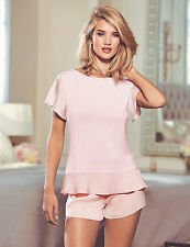 NEW M&S Rosie for Autograph Pink Satin Peplum Top & Shorts 10 EUR 38