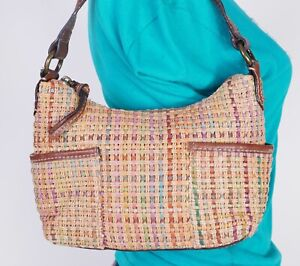 FOSSIL Very Small Straw Faux Leather Shoulder Hobo Tote Satchel Purse Bag