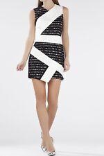 NWT BCBG MAX AZRIA Dalia Sleeveless Asymmetrical Skirt Dress Black White Sz 2