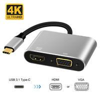 Plug & Play Type C USB C à VGA Adaptateur HDMI Convertisseur 4K UHD pour PC TV