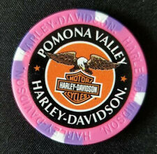 POMONA VALLEY HD~ 25th Ann ~CA~ (Pink/Purple) ~ Harley WIDE PRINT Poker Chip