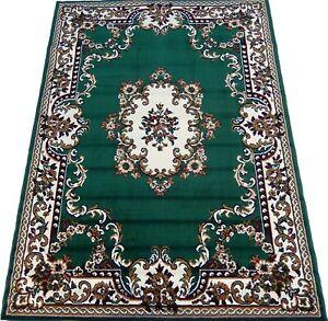 5x8 Area Rug Medallion Woven Carpet Dark Green Black Ivory Actual Size 5'2 x 7'2