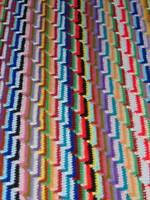 "vintage handcrafted CROCHET AFGHAN twin bedspread throw reversible boho 75""x75"""