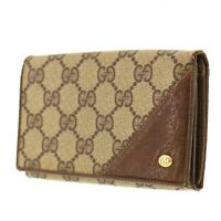 GUCCI GG Plus Bi-fold Wallet Brown PVC Leather Italy Vintage Authentic #AB532 Y