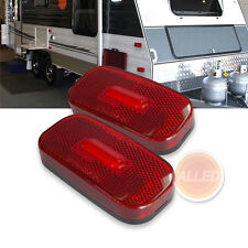 2X12V LED Oblong Side Marker Lights Car Caravan Clearance Indicator Lamp Red