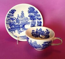 Nasco Blue And White Tea Cup And Saucer - Lakeview Blue River Made In Japan