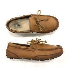 Mens Ugg Chestnut CHESTER COW LEATHER SHEEPSKIN SLIPPERS 1004247 Sz 8 EEE Wide
