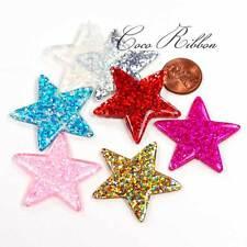 8 Pieces 38mm Glitter Sparkle Confetti Star Flatback Resin Cabochon A20