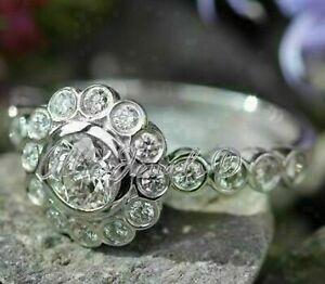 2.85ct Round cut Bezel cut Halo Diamond Engagement Ring Solid 14K White Gold