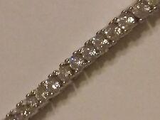 ".925 STERLING SILVER traditional princess cut TENNIS bracelet CZ stones 7.5"""