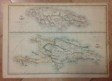 JAMAICA HAITI SANTO DOMINGO 1863 by ED WELLER LARGE ANTIQUE MAP XIXe CENTURY