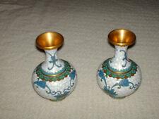 More details for 2 x boulbous brass/enameled vases 13 cm high 9 cm wide