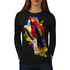 Wellcoda Parrot Bright Splash Womens Long Sleeve T-shirt, Bird Casual Design