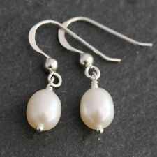 Handmade Pearl Drop/Dangle Sterling Silver Fine Earrings