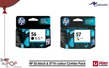 Hewlett Packard HP  57 & 56 Black +Tri Colour Combo Printer  Ink Cartridge BNIB