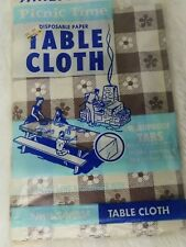 Vintage Disposable Tablecloth Brown White Flowers 78 In Long By 40 In Wide