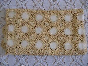 Vintage Crochet Pale Lemon Yellow Linen Insert Crochet Canopy Tablecloth 76x88