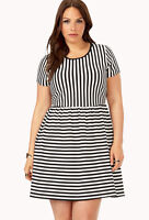 Forever 21 Plus SIze Black Ivory  Game Time Striped Dress XL/1X