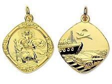 9ct Gold St Christopher  Pendant- Reversible  Medium Large- 3.6 gram,  free P+P