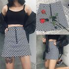 Fashion Women Summer Plaid High Waist Slim A-line Black White Zip Ladies Skirt L