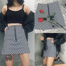 Fashion Women Summer Plaid High Waist Slim A-line Black White Zip Ladies Skirt H
