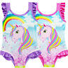 Unicorn Girls Kids One Piece Swimsuit Swimwear Rainbow Swimming Costume Age 3-9Y