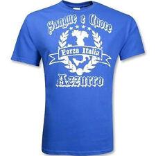 New Forza Italia Sangue Cuore Azzurro Adult Large Soccer Calcio Italy T-shirt