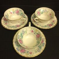 Lot Of 3 Syracuse Fine China Lilac Rose Demitasse Teacup Tea Cup and Saucer Set