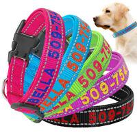 Reflective Personalized Embroidered Dog Collar Tough Nylon Collar ID Name Collar