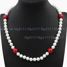 Pretty 8mm South Sea White Shell Pearl Red Coral Round Beads Necklace 14-18'' AA