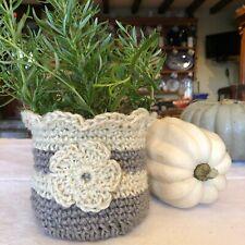 Jute Basket Plant Pot Planter Flower Herb Pot Handmade Grey and White Basket