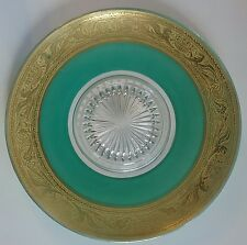 Cambridge Glass Under Plate w/ Embossed Rolled Gold Griffin & Forest Green Back