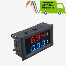 LED Digitale Voltmetro Amperometro Pannello Display Rosso Blu Shunt DC 100V 10A