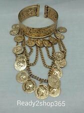 Upper Arm Bracelet Armlet Cuff Armband Bangle Chain Coin Harness Boho Gold USA
