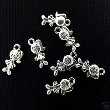 10 x Tibetan Silver Girl Pendant Charms Alice In Wonderland
