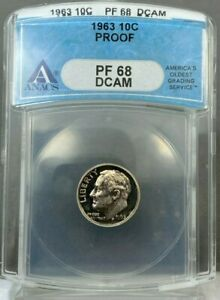 1963 10c Roosevelt Dime Silver PROOF ANACS PF68 DCAM ~ TONED