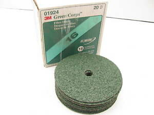 """(13) 3m 01924 Green Corps 7"""" X 7/8"""" Fibre Disc 16 Grade Grit"""