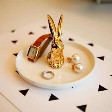 Ceramic Ring White/Gold Rabbit Dish Elegant Jewelry holder Home Halloween Gift